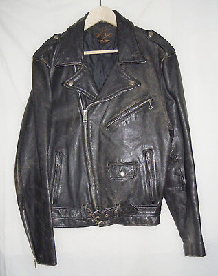1960s Vintage Montgomery Ward Black Leather Motorcycle Jacket  Mens 42 Tall
