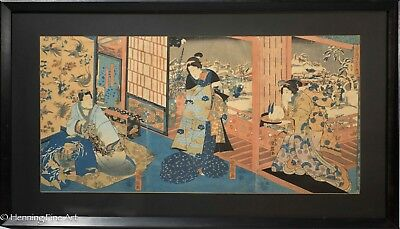 "Antique Japanese Triptych Woodblock by Kuniteru ""The Tale of Genji"" c. 1850"