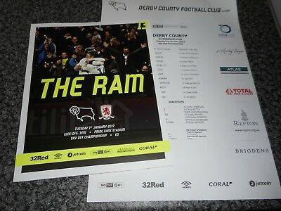 DERBY COUNTY  v  MIDDLESBROUGH  2018/19  JAN 1st  + ***FREE COLOUR TEAM SHEET***