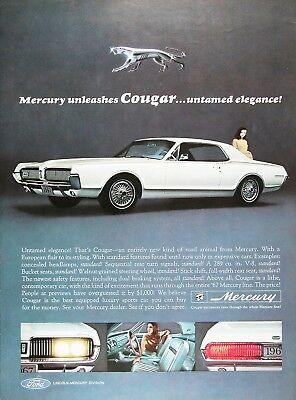 1967 MERCURY COUGAR Lot of (2) Genuine Vintage Debut Advertisements ~ 289 V-8