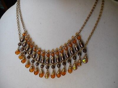 Vintage Robert Rose Egyptian revival amber glass necklace