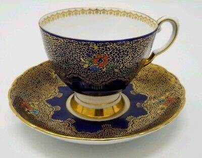 Footed Cup & Saucer Set by Tuscan Fine Bone China Gold on Cobalt Blue