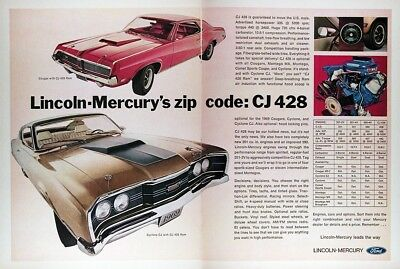 1969 MERCURY COUGAR & CYCLONE Genuine Vintage Advertisement ~ CJ 428 RAM
