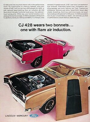 1969 MERCURY CYLCONE CJ Lot of (3) Genuine Vintage Advertisements ~ CJ 428