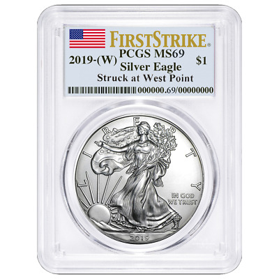 2019 (W) $1 American Silver Eagle PCGS MS69 First Strike Flag Label
