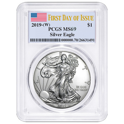 2019 (W) $1 American Silver Eagle PCGS MS69 FDOI Flag Label