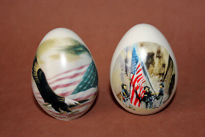 2 Porcelain Eggzakly Egg 911 American Firefighters Flag Eagle Heros Twin Towers