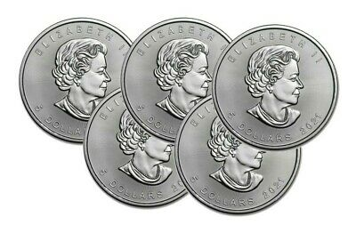 Lot of 5 Silver 2019 Canada 1 Oz .9999 Silver Maple Leaf $5 Coins