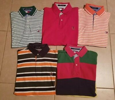 Lot of 5 Tommy Hilfiger Men's Polo Shirts Short Sleeve in size M/S