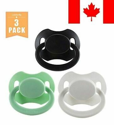 Littleforbig GEN 2 Adult Sized Pacifier 3 PACI PACK - Black,White,Green