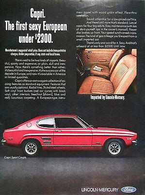 1970 MERCURY CAPRI Sport Coupe Genuine Vintage Advertisement ~ MSRP Under $2,300