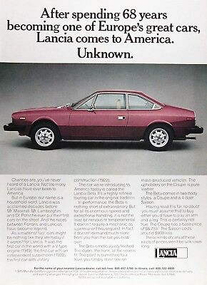 1976 LANCIA BETA COUPE Lot of (2) Genuine Vintage Ads ~ MSRP $6,793