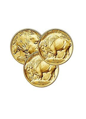Lot of 3 Gold 2019 American buffalo 1 Troy oz Bullion $50 US Mint Coins