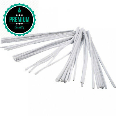 Pipe Cleaners, thickness 6 mm, L: 30 cm, white, 50pcs