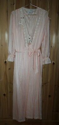 Vtg Lorraine USA size L Lingerie Nightgown Sleep Robe Lace Negligee 2-Set Long
