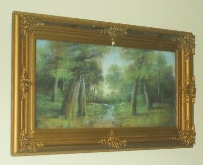 Original Charcoal Painting Forest River Scene Early 1900s Ornate Frame Beautiful
