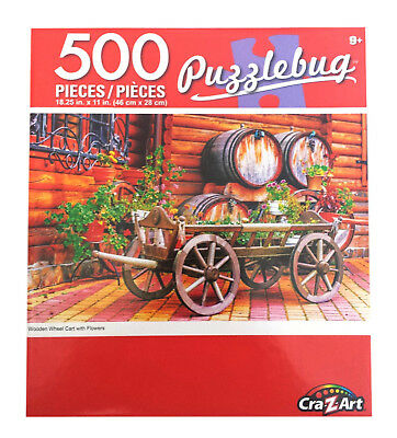 "Rustic Wooden Flower Cart Wagon Wheel Jigsaw Puzzle 500 Pieces 18.25""X11"" Piece"