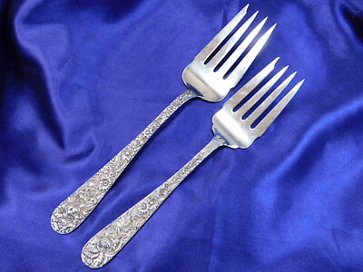 Kirk Repousse Sterling Silver Serving Fork Pair - Very Good Condition