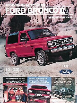 1984 FORD BRONCO II Lot of (2) Genuine Vintage Ads ~ New Trim Size