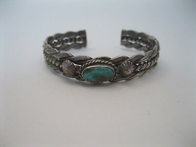 Lot 92 - Wonderful Old Navajo Twisted Silver Wire & Turquoise Bracelet