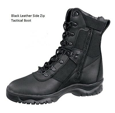 """BLACK 8"""" Tactical BOOTS Side Zip Military SWAT Army Marine Corps EMT Police USMC"""