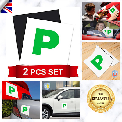 2 pcs Fully Magnetic Passed Pass Green P Driver Plate Plates for Car Vehicle