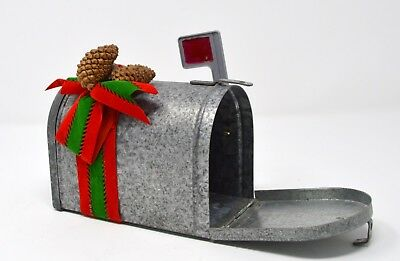 Vintage galvanized metal small Christmas decorated mailbox use as Decor/gift box