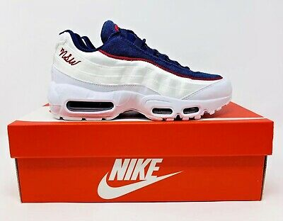 finest selection 752a9 b29d4 Nike Air Max 95 LX White Blue Red NSW Running Shoe AA1103-100 Women s Size