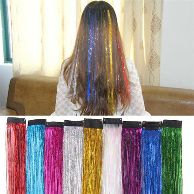 1Strands Hair Tinsel Sparkle Holographic Color Glitter Extension Highlight Party