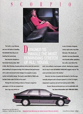 1988 MERCURY SCORPIO SEDAN Original Vintage Advertisement ~ MSRP $27,500