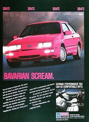 1989 MERCURY XR4Ti Original Vintage Advertisement ~ Bavarian Scream