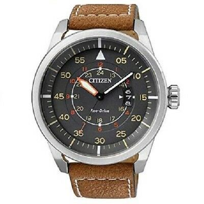 Citizen Eco-Drive Aviator AW1360-12H Black Dial Brown Strap Men's Solar Watch