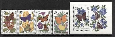 INSECTS: BUTTERFLIES ON TURKS & CAICOS 1982 Scott 507-511, MNH