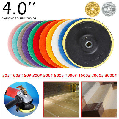 """11pcs 4"""" Diamond Polishing Pads Grinder Disc For Granite Marble Stone Any Grit"""