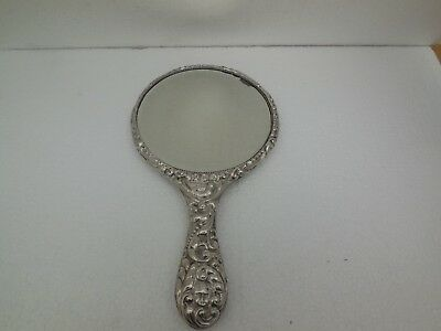 antique edwardian sterling silver hand held mirror birminham 1912