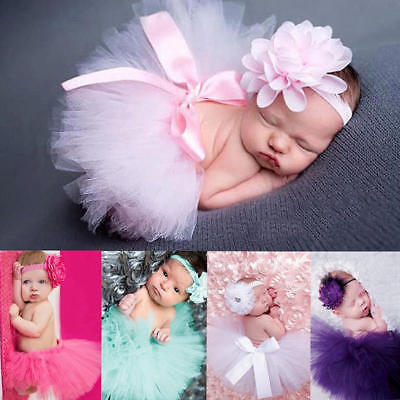 Baby Newborn Girls Tutu Skirt Headband Costume Photo Photography Props Outfits