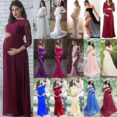 8-14 Pregnant Women Lace Long Dress Maternity Maxi Gown Dress Photography Props