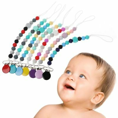 Baby Dummy Chain Silicone Pacifier Clips Bead Dummy Clip Infant Handmade Teether