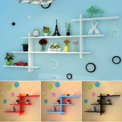 Set Of 7 Shape T-Shaped Floating Wall Shelves Storage Display Shelf Home