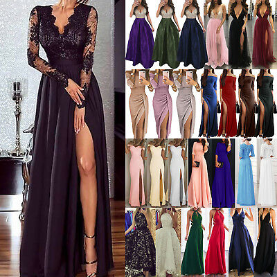 Womens Long Formal Party Dress Evening Cocktail Bridesmaid Prom Gown Maxi Dress