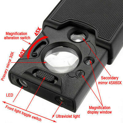 30x 45x 60x LED UV Lighted Magnifier Jewelers Watch Loupe Loop Magnifying Glass