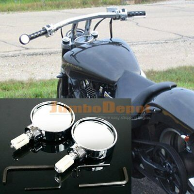 """Chrome Motorcycle Convex 7/8"""" Handle Bar End Round Mirror For Street Bike Bobber"""