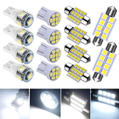 14x  White LED Package Interior For Dome Map License Lights T10 & 31mm Bulb Lamp