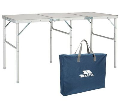 Trespass Triple Folding Camping Party Table - Seats 6 People - inc Carry Bag