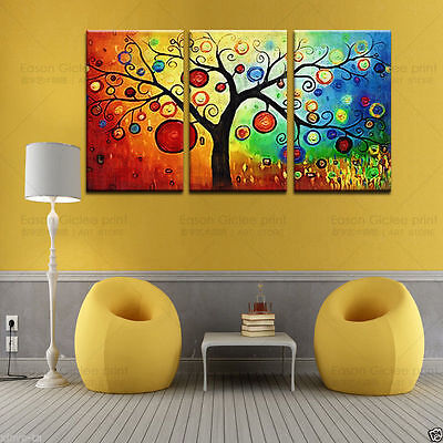 CHOP146 3pcs 100% hand-painted abstract landscape tree oil painting art canvas