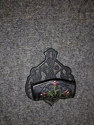 Vintage Reproduction of Antique Painted Cast Iron Matchsafe Signed DMH-1B Hearth