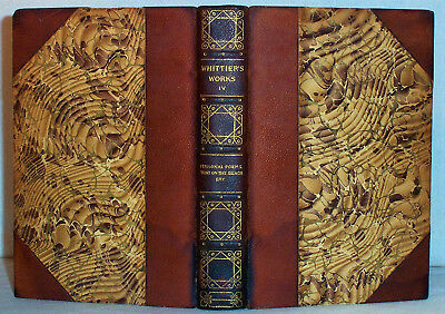 1894 Leather Binding WHITTIER Poems Colonial New England Indians Witchcraft etc.