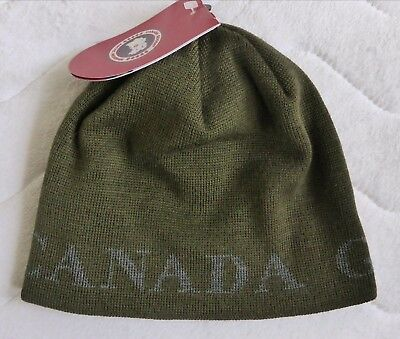 Genuine CANADA GOOSE Military Green MERINO WOOL Skull BEANIE Toque Hat Tags