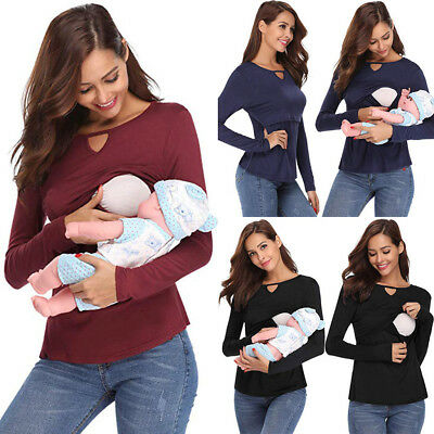 Maternity Womens Nursing Long Sleeve Solid Breastfeeding Blouse Tops Shirts Hot
