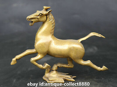 """7.7"""" Chinese Fengshui Bronze Animal Fine Horse Tread Fly Swallow Statue '马踏飞燕'"""